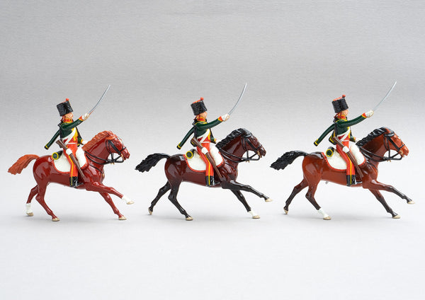 Set 150 7th Hussars  | French Cavalry | Napoleonic Wars | Three mounted cavalrymen with rifles and sabres. Bearskin colpack with red bag, green tunic and pelisse | Waterloo | © Imperial Productions | Sculpt by David Cowe