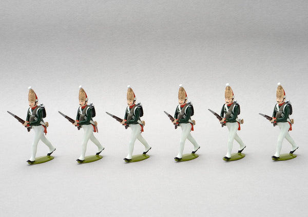 Set 151a Pavlovski Grenadiers, 1806 | Russian Infantry | Napoleonic Wars | Six men with mitre cap advancing | Waterloo | © Imperial Productions | Sculpt by David Cowe