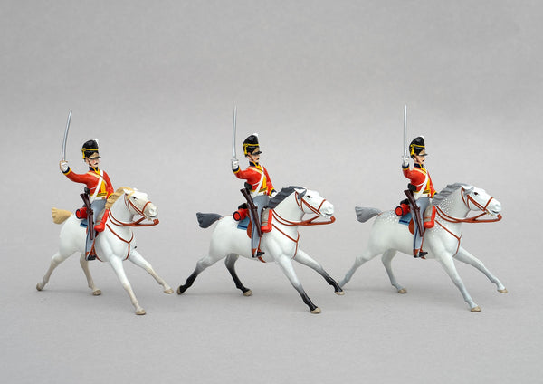 Set 152 Scots Greys, Waterloo 1815 | British Cavalry | Napoleonic Wars | Three mounted Heavy Dragoons with tall bearskin hats, grey mounts, sabres and carbines | Waterloo | © Imperial Productions | Sculpt by David Cowe