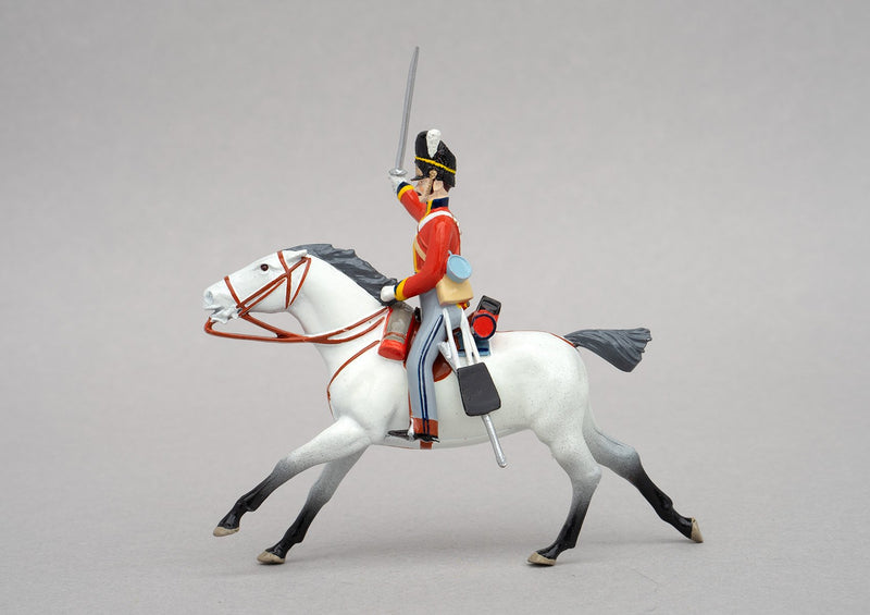 Set 152 Scots Greys, Waterloo 1815 | British Cavalry | Napoleonic Wars | Single mounted Heavy Dragoon with tall bearskin hat, grey mount, sabre and carbine | Waterloo | © Imperial Productions | Sculpt by David Cowe