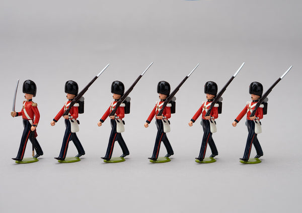 Set 65 Coldstream Guards 1854 | British Infantry | Crimean War | Six men, one officer with sword, five men marching at slope arms | Balaclava, Sevastapol, Alma | © Imperial Productions | Sculpt by David Cowe