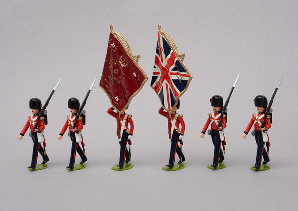 Set 67 Coldstream Guards 1854, Colour Party | British Infantry | Crimean War | Colour party of six men, two carrying the colours and four colour sergeants | Balaclava, Sevastapol, Alma | © Imperial Productions | Sculpt by David Cowe