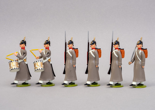 Set 72 Russian Line Infantry 1854 | Russian | Crimean War | Six men, One Officer, three men marching and two drummers | Balaclava, Sevastapol, Alma | © Imperial Productions | Sculpt by David Cowe