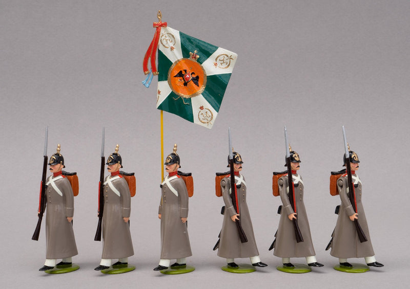 Set 76 Russian Line Infantry 1854, Colour Party | Russian | Crimean War | Colour party, comprising one colour bearer and five men marching | Balaclava, Sevastapol, Alma | © Imperial Productions | Sculpt by David Cowe