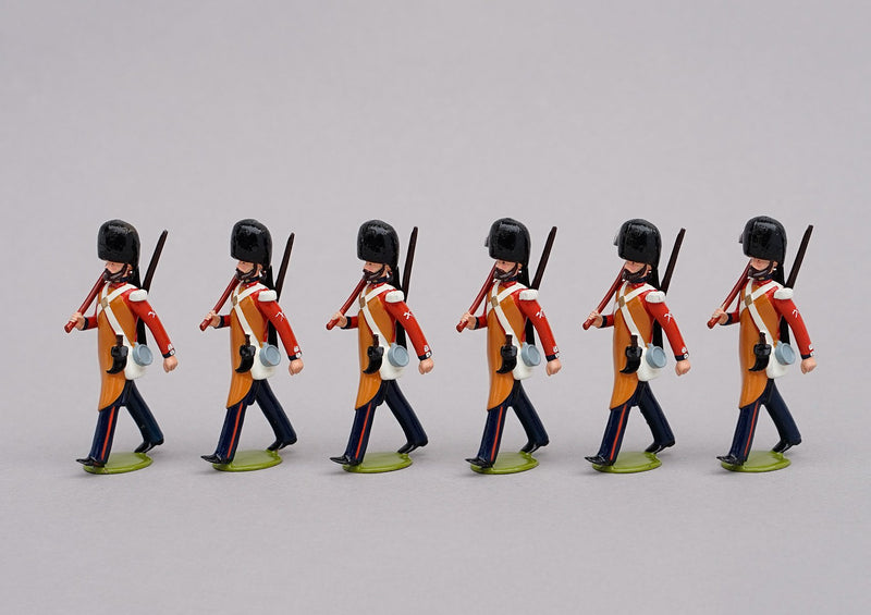 Set 77 Coldstream Guards 1854, Pioneers | British Infantry | Crimean War | Six men marching with rifles slung and axes at slope | Balaclava, Sevastapol, Alma | © Imperial Productions | Sculpt by David Cowe