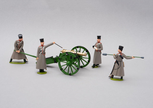 Set 79 Don Cossack Artillery 1854 | Russian | Crimean War | One artillery piece supported by four gunners | Balaclava, Sevastapol, Alma | © Imperial Productions | Sculpt by David Cowe