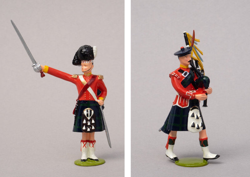 Set 80 The Thin Red Line 1854 | British Infantry | Crimean War | 93rd (Sutherland) Highlanders. Officer and piper. | Balaclava, Sevastapol, Alma | © Imperial Productions | Sculpt by David Cowe