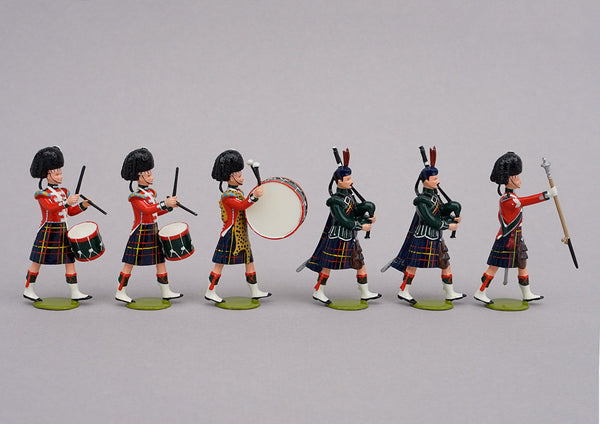 Set 81 Pipe Band Cameron Highlanders 1854 | British Infantry | Crimean War | Highland bandsmen. Drum major, two pipers, Three drummers | Balaclava, Sevastapol, Alma | © Imperial Productions | Sculpt by David Cowe