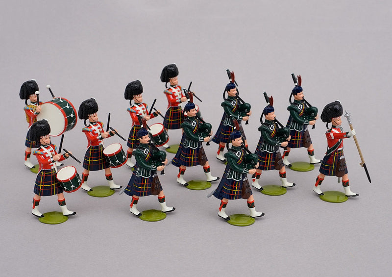 Set 81a Pipe Band Cameron Highlanders 1854 | British Infantry | Crimean War | Combined set 81 and 81a 12 Highland bandsmen. | Balaclava, Sevastapol, Alma | © Imperial Productions | Sculpt by David Cowe