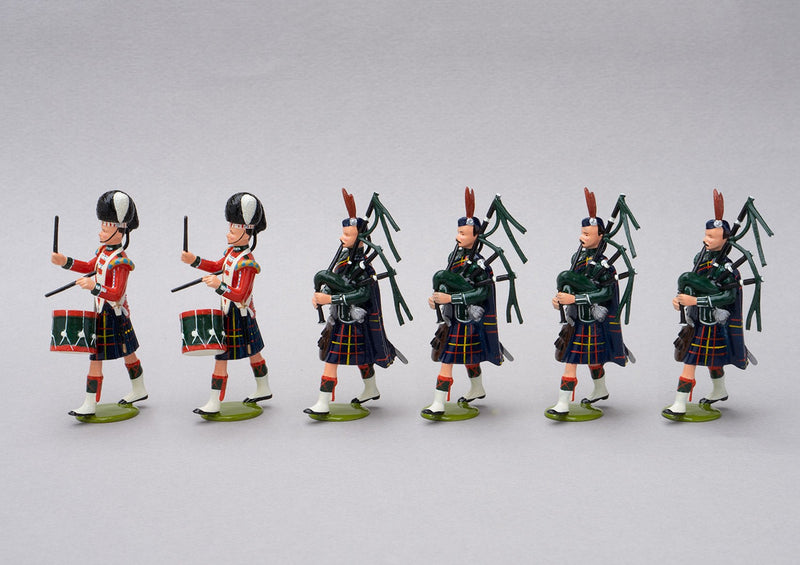Set 81a Pipe Band Cameron Highlanders 1854 | British Infantry | Crimean War | Highland bandsmen. Two drummers and four pipers | Balaclava, Sevastapol, Alma | © Imperial Productions | Sculpt by David Cowe