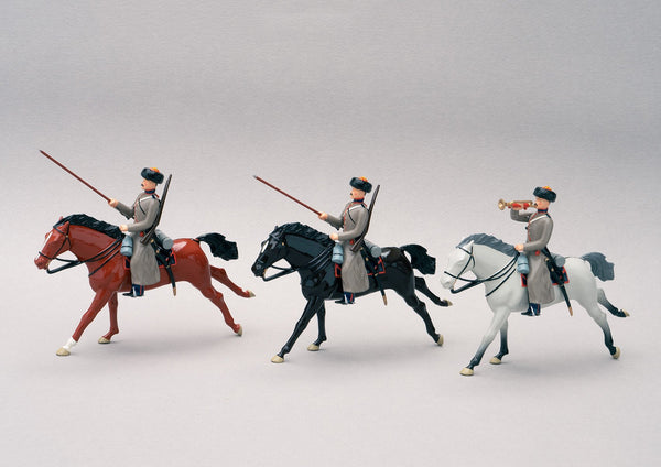 Set 86 53rd Don Cossack Cavalry 1854 | Russian Cavalry | Crimean War | Three mounted cossacks.  One bugler two Cossack troopers | Balaclava, Sevastapol, Alma | © Imperial Productions | Sculpt by David Cowe