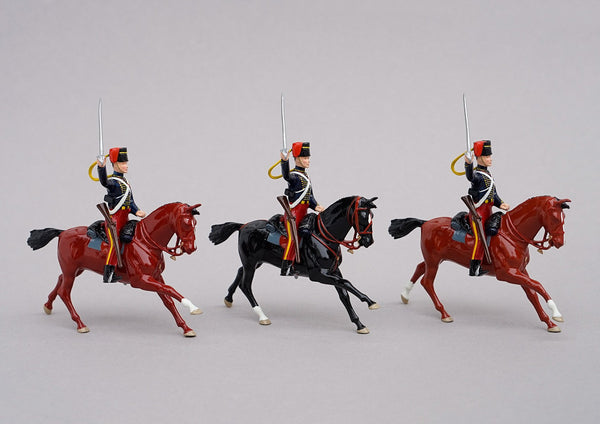 Set 88 11th Hussars 1854 | British Cavalry | Crimean War | Three mounted Hussars, with sabres drawn | Balaclava, Sevastapol, Alma, Charge of the Light Brigade | © Imperial Productions | Sculpt by David Cowe