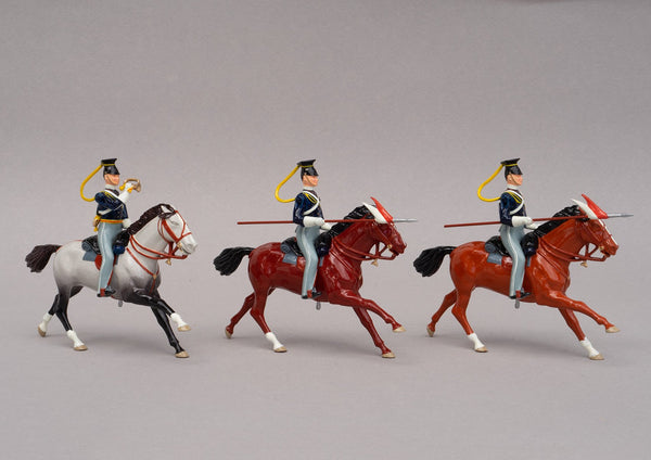 Set 91 17th Lancers 1854 | British Cavalry | Crimean War | Three mounted lancers, one bugler, two lancers | Balaclava, Sevastapol, Alma, Charge of the Light Brigade | © Imperial Productions | Sculpt by David Cowe