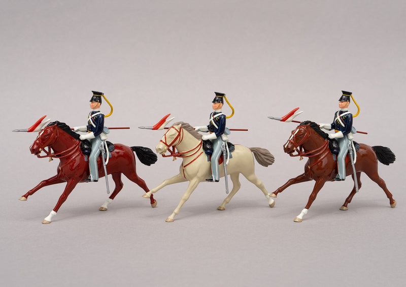 Set 91a 17th Lancers 1854 | British Cavalry | Crimean War | Three mounted lancers | Balaclava, Sevastapol, Alma, Charge of the Light Brigade | © Imperial Productions | Sculpt by David Cowe