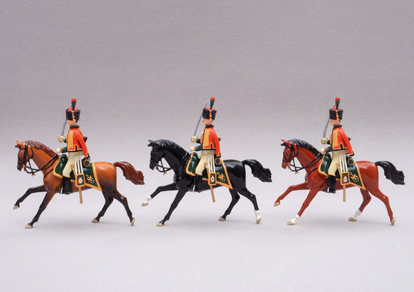 Set 95 Chasseurs à Cheval | French Cavalry | Napoleonic Wars | Three mounted figures with carbines and sabres | Waterloo | © Imperial Productions | Sculpt by David Cowe