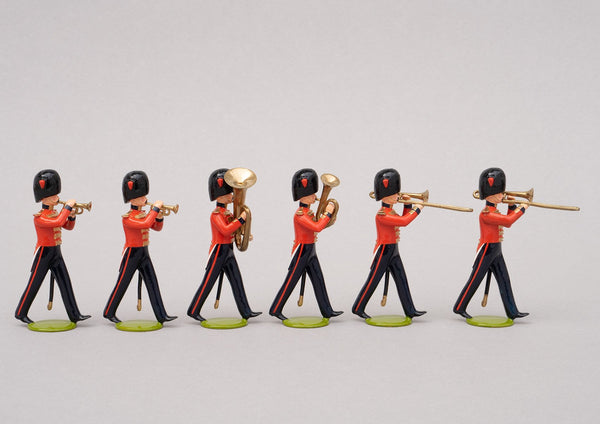 Set 99a Band of the Coldstream Guards 1854 | British Infantry | Crimean War | Six bandsmen, two trombones, two drummers and one tuba, one euphonium | Balaclava, Sevastapol, Alma | © Imperial Productions | Sculpt by David Cowe