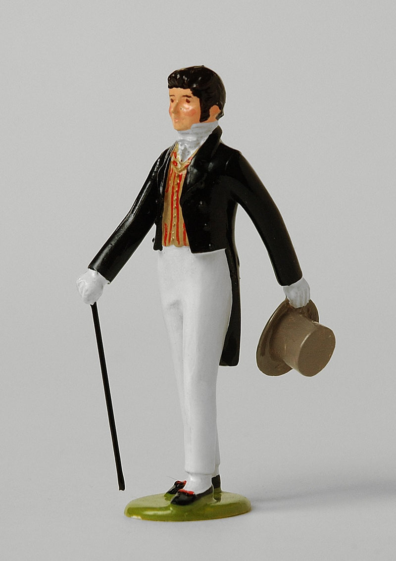 Set ES02 Gentleman with cane & top hat | Regency Gentleman | First Empire Civilians | © Imperial Productions | Sculpt by David Cowe