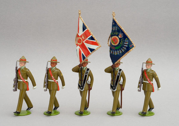 Set NZ9 2nd/1st Battalion Royal New Zealand Infantry Regiment, Colour Party | NZ Infantry | New Zealand | Colour Party, set of five men composed of two subalterns who bear the colours, a warrant officer and two colour sergeants. | © Imperial Productions | Sculpt by David Cowe