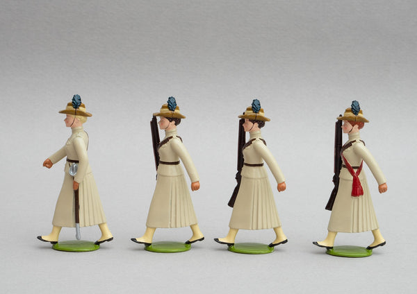 Set NZ1 Girls' Khaki Brigade, Boer War | NZ | New Zealand | Set of four women marching | Boer War | © Imperial Productions | Sculpt by David Cowe