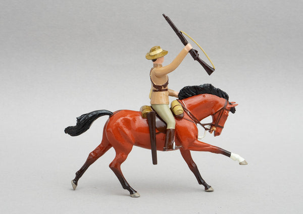 Set NZ2 Mounted Rifleman, Anglo-Boer War 1899-1902 | NZ Cavalry | New Zealand | Single mounted figure on bay horse with rifle | Boer War | © Imperial Productions | Sculpt by David Cowe