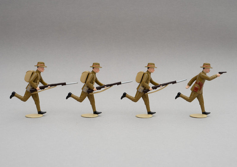 Set NZ3 NZ Infantry, Gallipoli WWI | NZ Infantry | New Zealand | Set of four men, one officer, three men marching | WW1,Gallipoli, ANZAC Cove Chunk Bair, WW1 | © Imperial Productions | Sculpt by David Cowe