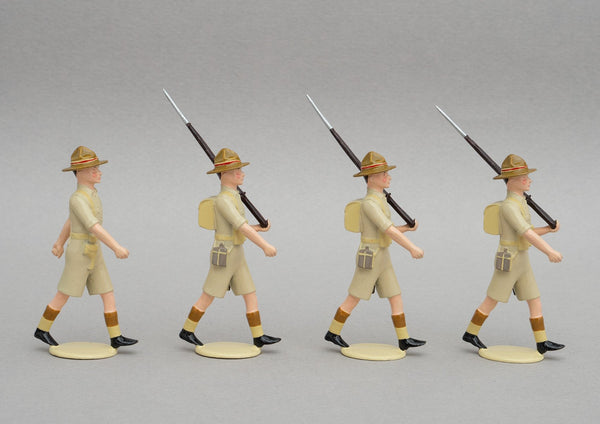 Set NZ6 NZ Infantry, Egypt WWII | NZ Infantry | New Zealand | Four men in shorts. General Bernard Freyberg, Egypt, El Maadi, Greece, Crete. Charles Upham VC, North Africa, Italy.  Long Range Desert Group. | WW2, Greece, Libya, Crete, Italy | © Imperial Productions | Sculpt by David Cowe