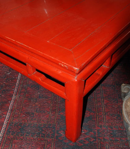 TABLE BASSE ANCIENNE CHINOISE LAQUÉ ROUGE