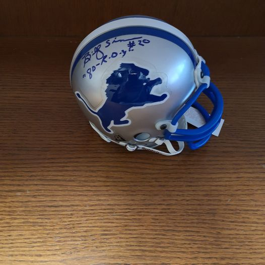 Autographed Billy Sims Mini Helmet