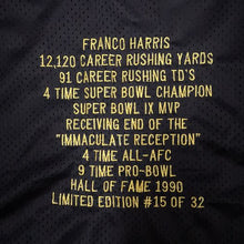 Load image into Gallery viewer, Autographed Limited Edition #15 of 32 Franco Harris Pittsburgh Steelers Jersey Size 52 Steiner COA