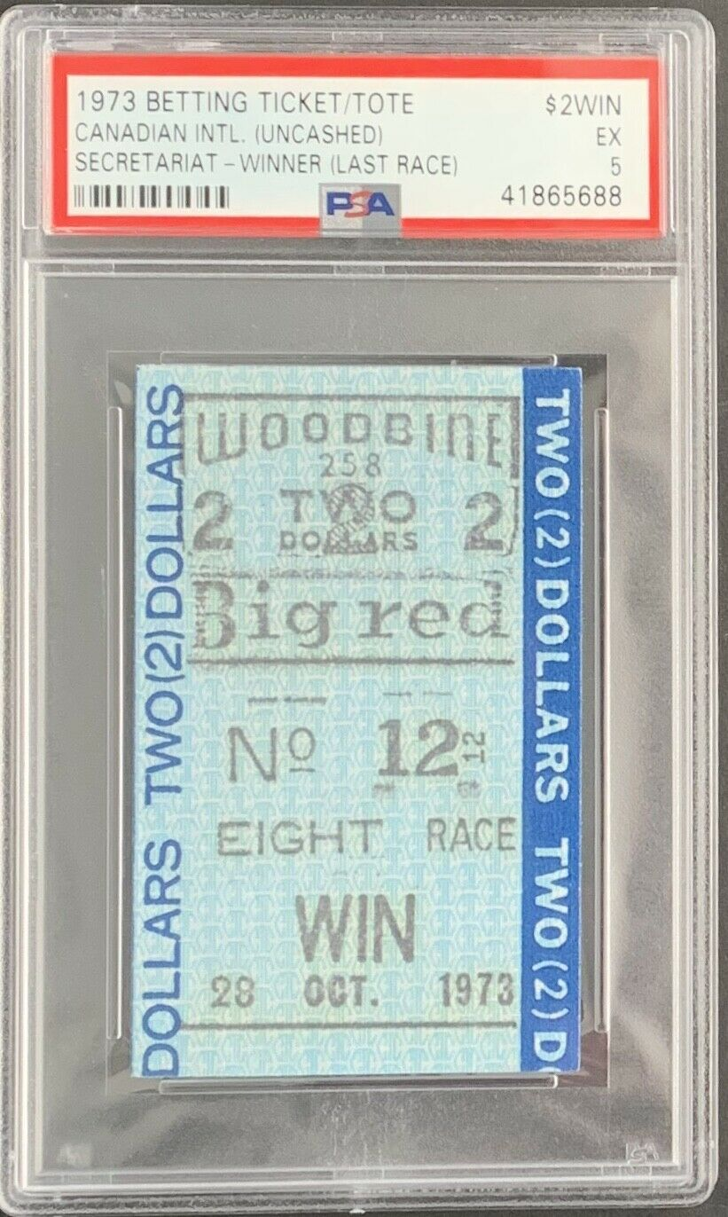 Secretariat Last Race 1973 Woodbine Uncashed $2 Win Ticket BIG RED PSA 5