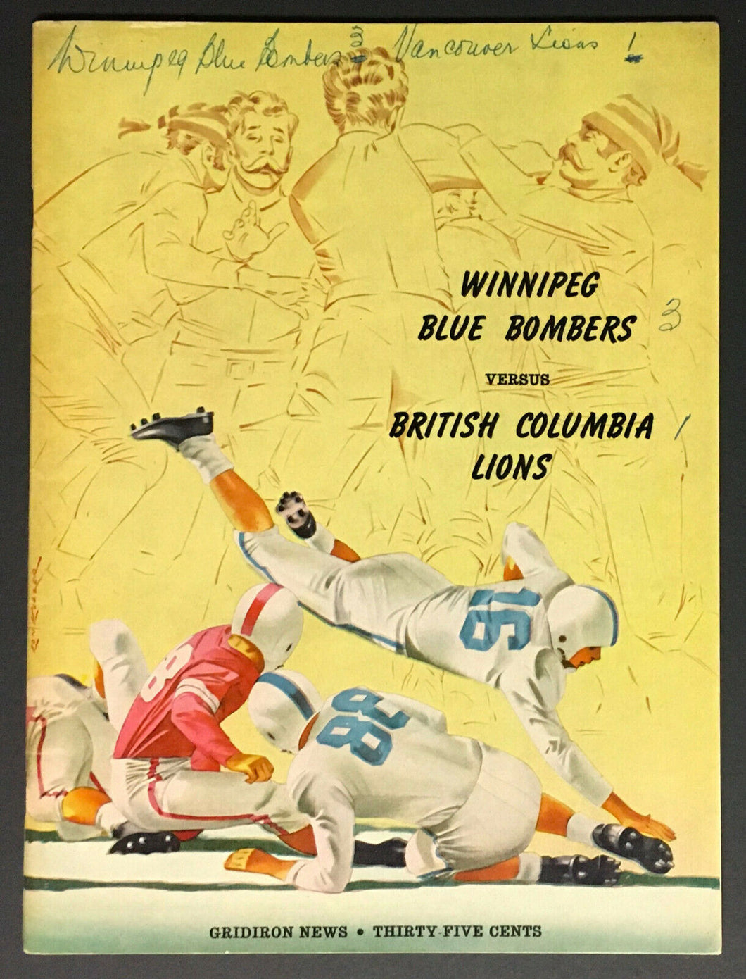 1956 CFL Football Program Winnipeg Blue Bombers vs British Columbia Lions VTG