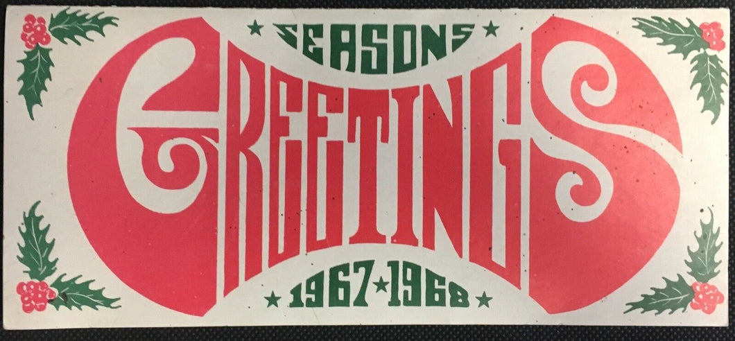 1967 Greensboro Generals Hockey Christmas Card Facsimile Signatures ECHL NHL