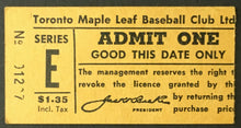 Load image into Gallery viewer, 1961 International League IL Baseball Ticket Stub Toronto Maple Leafs Stadium
