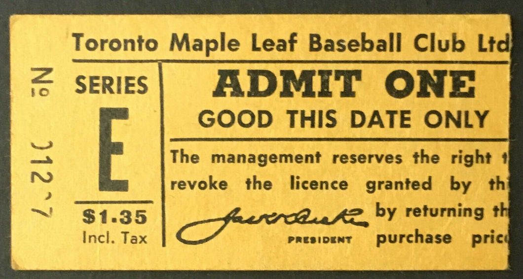 1961 International League IL Baseball Ticket Stub Toronto Maple Leafs Stadium