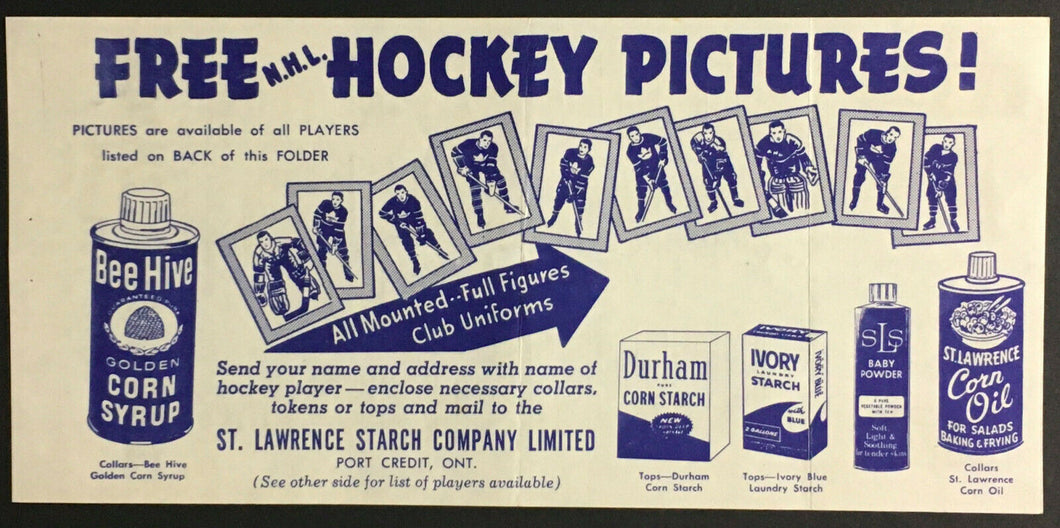 1961 NHL Bee Hive Hockey Pictures Checklist Vintage Sports St. Lawrence Starch