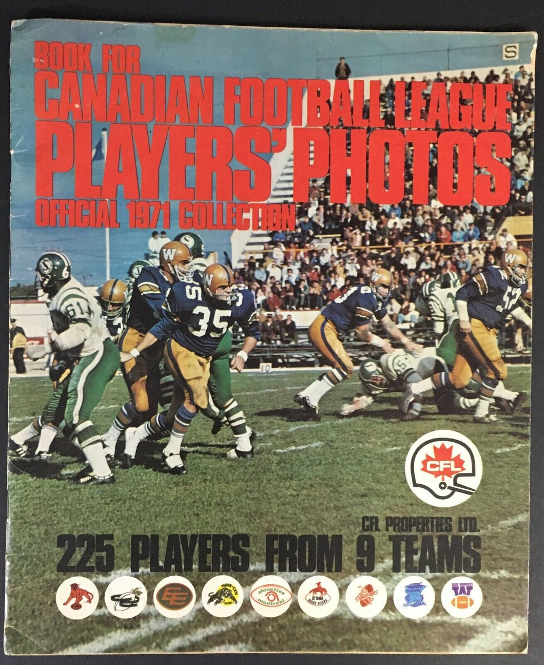 1971 CFL Football Picture Album 9 Teams Eskimos Argos Tiger Cats Alouettes ++
