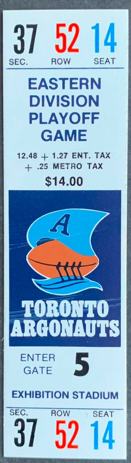 1986 CFL Football Eastern Division Playoff Game Ticket Hamilton vs Toronto Argos