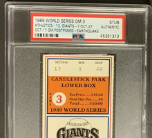 Load image into Gallery viewer, 1989 World Series Ticket Candlestick Park Earthquake Game 3 Giants PSA Authentic