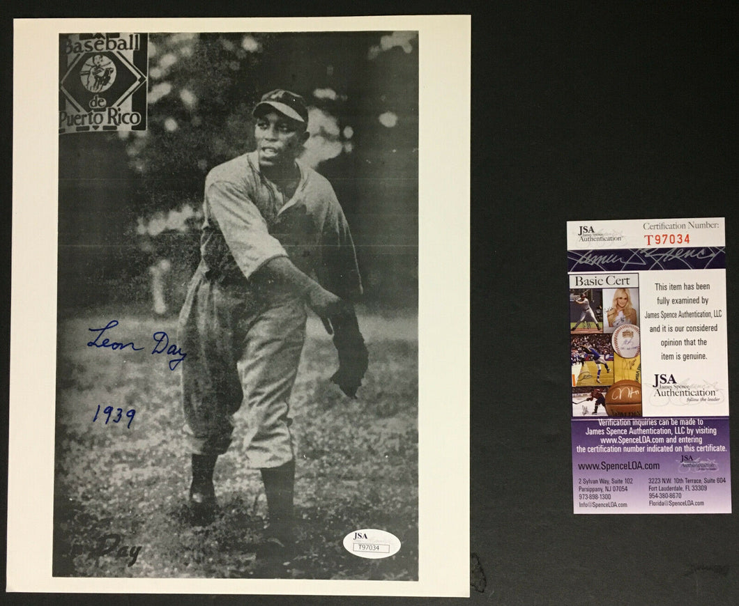 Leon Day Signed Authentic Photograph Negro Leagues Baseball JSA COA Autographed