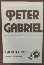 Load image into Gallery viewer, Peter Gabriel Concert Facility Pass Toronto Canada venue Music Rock Vintage