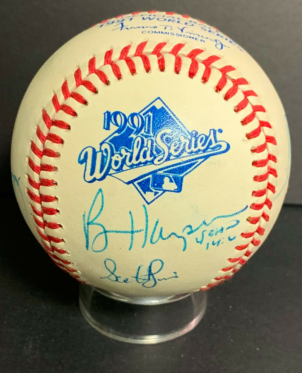 1991 World Series Multi Signed Baseball Minnesota Twins Champions x9 Puckett JSA