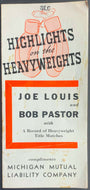Vintage Fold Out Promo Brochure Joe Louis Heavyweight Title Fight vs Bob Pastor