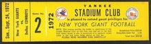 Load image into Gallery viewer, 1972 NFL Yankee Stadium Club Ticket New York Giants vs Dallas Cowboys Football
