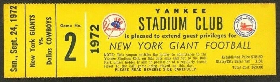 1972 NFL Yankee Stadium Club Ticket New York Giants vs Dallas Cowboys Football