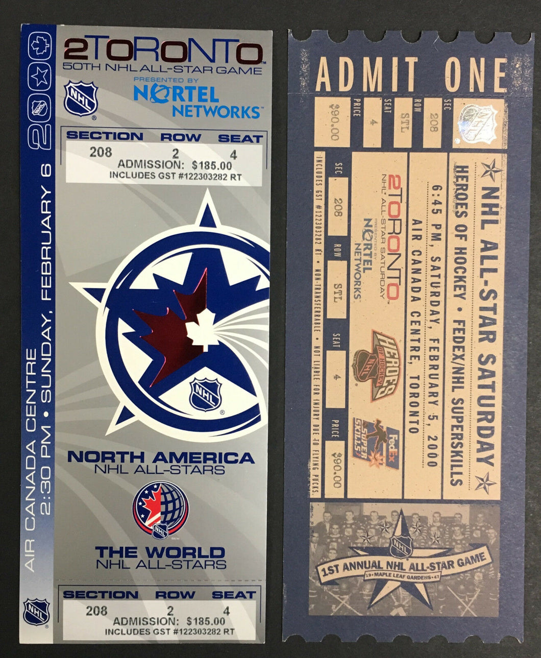 2000 NHL All Star Hockey Game Ticket + Skills Competition Air Canada Centre