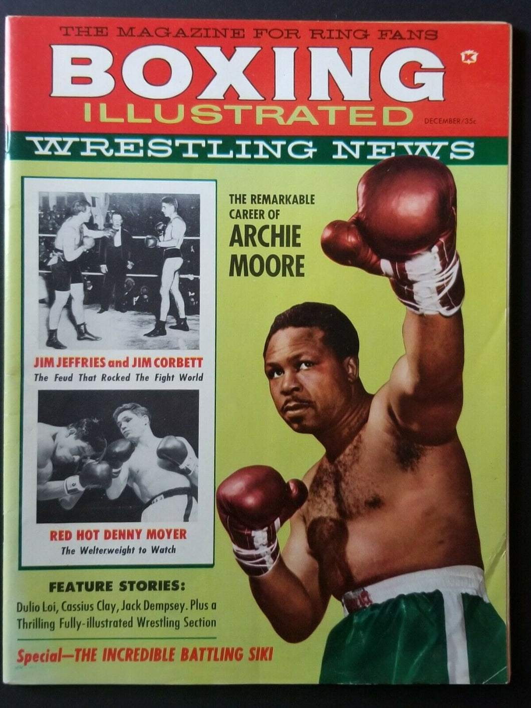 1960 Boxing Illustrated Magazine Archie Moore + Early Cassius Clay Featured Vtg