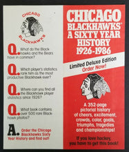 Load image into Gallery viewer, 1986 NHL Hockey Chicago Blackhawks 60th Anniversary Book Order Form Pro Sports