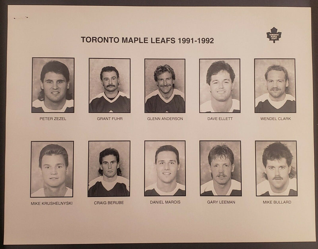 1991 - 1992 NHL Toronto Maple Leafs Team Issued Photo Set Peter Zezel Todd Gill