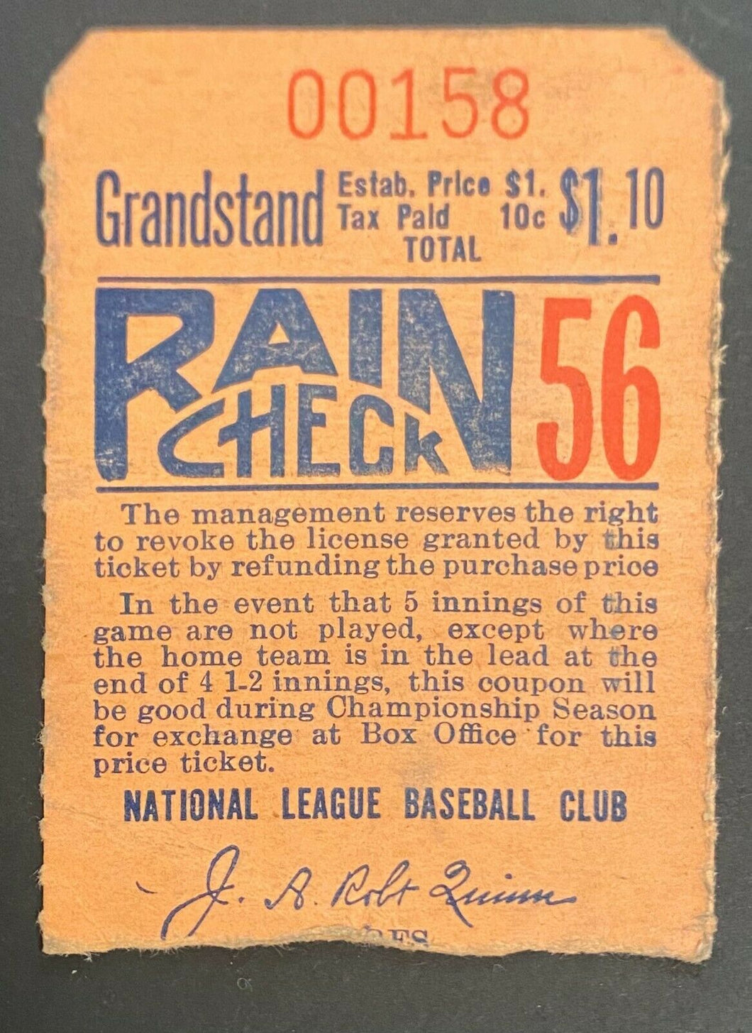1940s MLB Boston Braves Baseball Grand Stand Vintage Rare Ticket Stub
