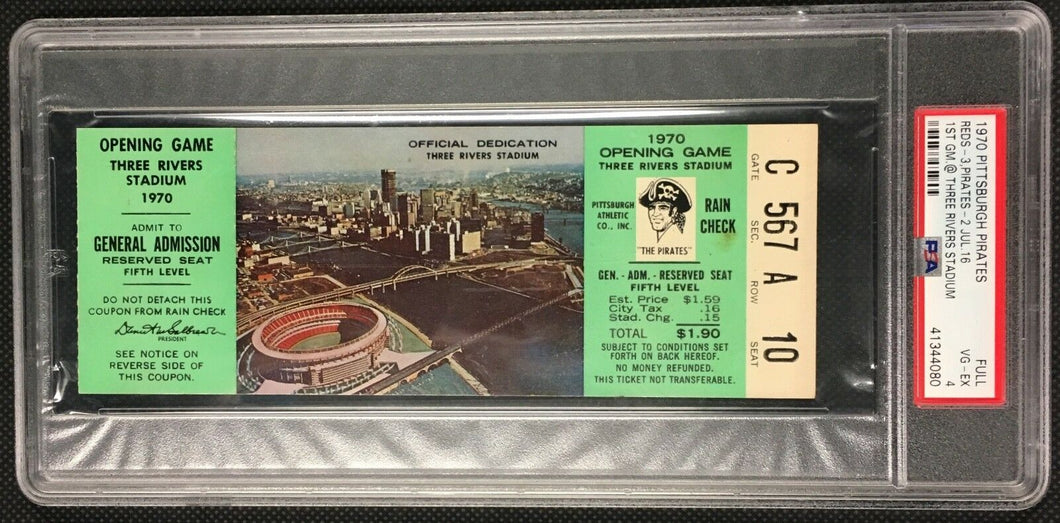 1970 1st Game Three Rivers Stadium Ticket Pittsburgh Pirates vs Reds MLB PSA 4